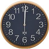 不二貿易 プライウッド 電波掛け時計 直径28cm ネイビー 85353