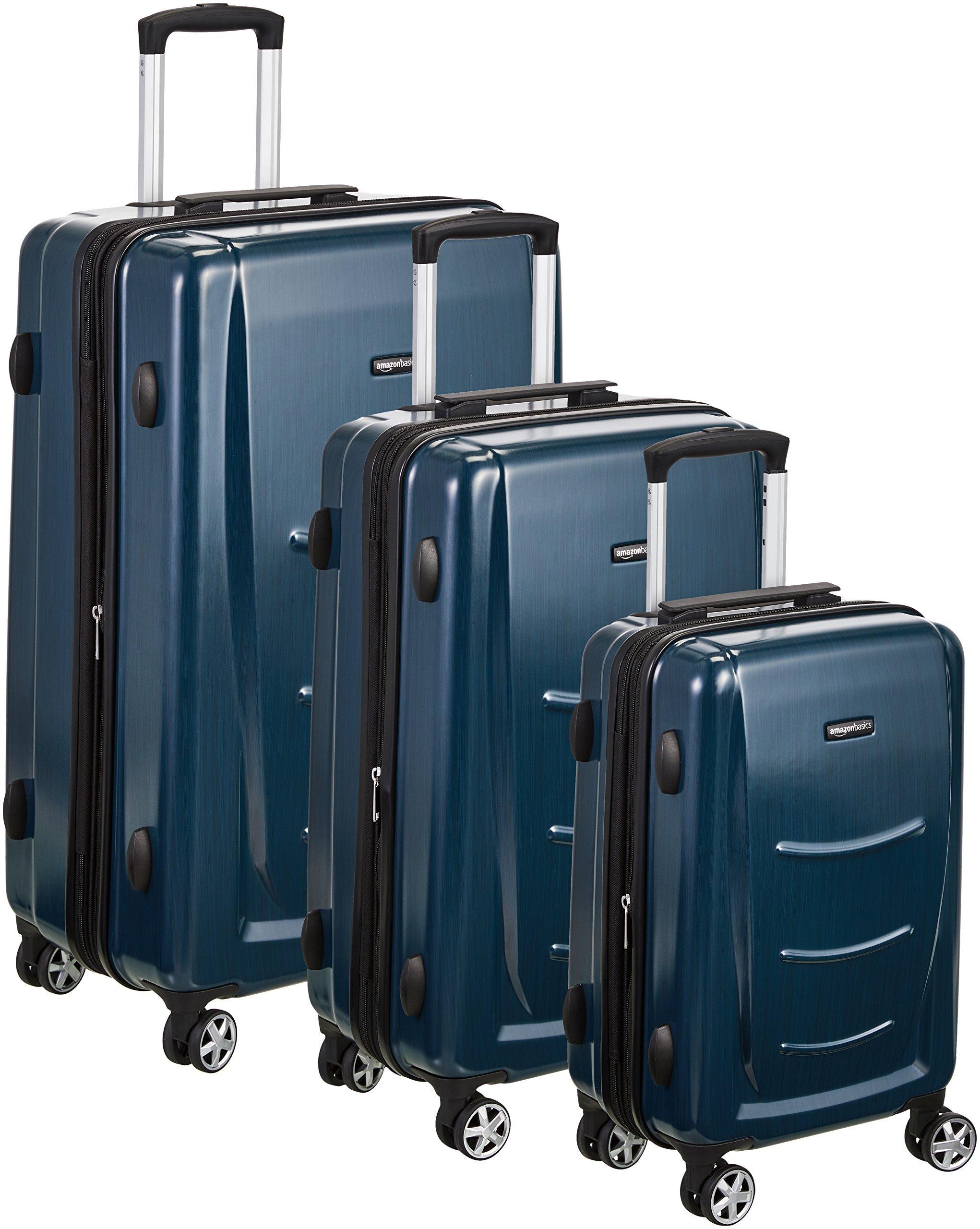 AmazonBasics Hardshell Spinner Luggage - 3-Piece Set (20'', 24'', 28''), Navy Blue