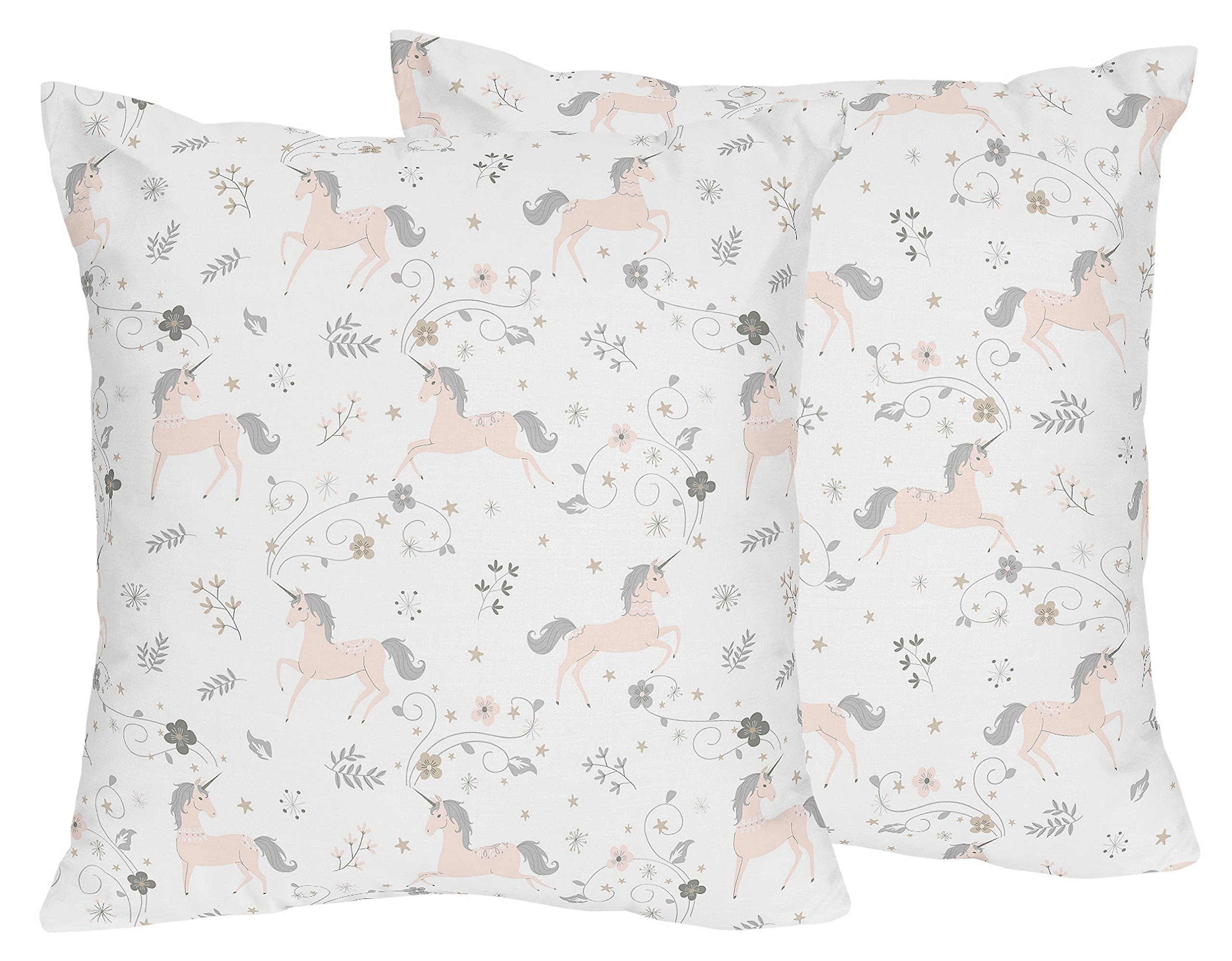 Sweet Jojo Designs Decorative Accent Throw Pillows for Unicorn Collection - Set of 2, Pink, Grey and Gold