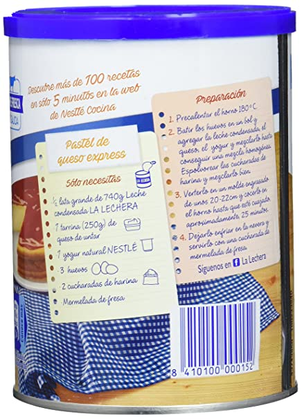 Nestlé La Lechera Leche condensada entera - Lata de leche condensada entera abre fácil - Caja de 12 x 740g: Amazon.es: Alimentación y bebidas