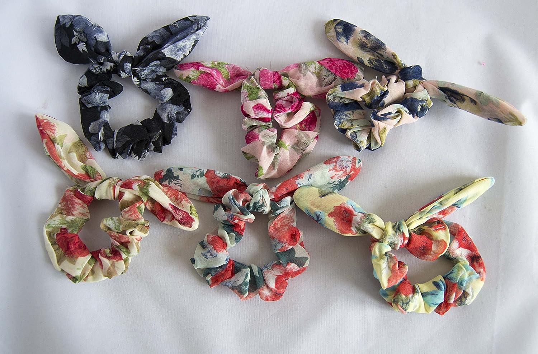 Pack de 6 coleteros de tela de flores con lazo. Envío GRATIS 72h   Amazon.es  Belleza e454e081632a