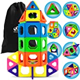Discovery Kids 50 Piece Magnetic Building Tiles Set, Magnet Blocks 50pcs Construction Kit in 6 Colors, Creativity STEM Toy for Preschool Toddlers, Kids, Girls, Boys w/ Storage Bag {Upgraded Version}