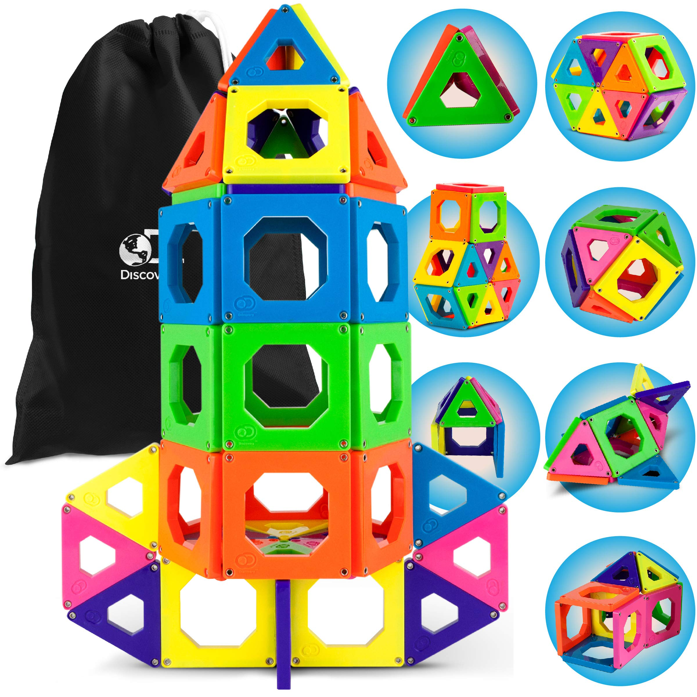 Discovery Kids 50 Piece Magnetic Building Tiles Set, Magnet Blocks 50pcs Construction Kit in 6 Colors, Creativity STEM Toy for Preschool Toddlers, Kids, Girls, Boys w/ Storage Bag {Upgraded Version} by Discovery Kids