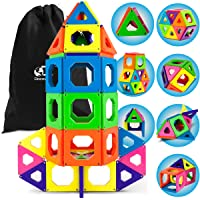 Discovery Kids 50-Piece Magnetic Building Tiles Construction Set in 6 Colors with...