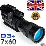 Rongland NV760-D3+ PROFESSIONAL DIGITAL NIGHT VISION DEVICE & FULL COLOUR CAMERA (MONOCULAR SCOPE) - New model from Nov. 2016 with RECHARGEABLE BATTERIES - Gen. 2 Comparable Image Quality - Broad Daylight & Night Time Operation - Automatic IR Illumination - Photo and Video to SD Card, Video Out for Computer or Surveillance Systems Recording, Tripod Socket & Accessory Rail, Carry Case, Super Magnification 7x60mm - Revision D3+