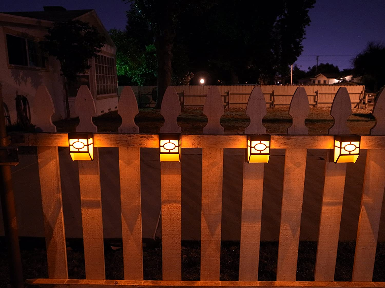 Upgrade Solar Powered Wall Mount Lights Landscape Garden Yard Fence ...