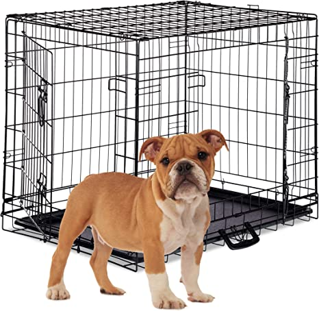 Dog Crate Kennel Folding Metal Pet Cage 2 Door Divider Tray Pan S//M//L//XL//XXL