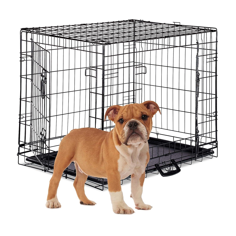 Drahtk/äfig Metall Welpenk/äfig Faltbare Hundetransportbox Schwarz Relaxdays Hundek/äfig 2 T/üren S-XXXL Bodenschale