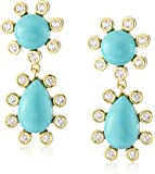 CZ by Kenneth Jay Lane 3cttw Round Cubic Zirconia Turquoise-Color Teardrop Earrings