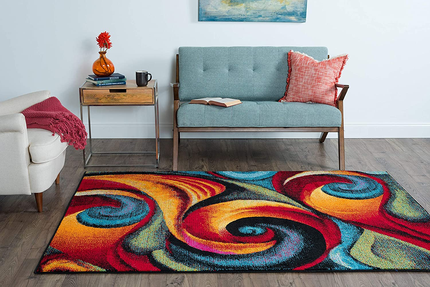 Susan Contemporary Abstract Multi Color Rectangle Area Rug 5 X 7 Furniture Decor