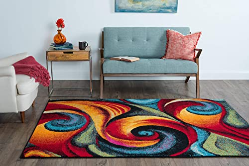 Susan Contemporary Abstract Multi-Color Rectangle Area Rug, 4 x 5
