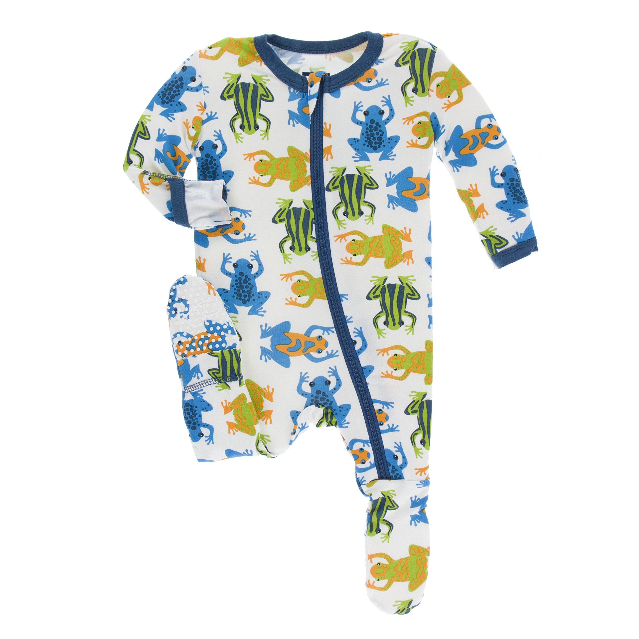Kickee Pants Little Boys Print Footie with Zipper - Amazon Frogs, 5 Years