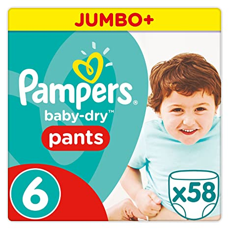 Pampers Baby Dry Pants Windeln, Gr. 6 (ab 15 kg), Jumbo Plus, 1er Pack (1 x 58 Stück)