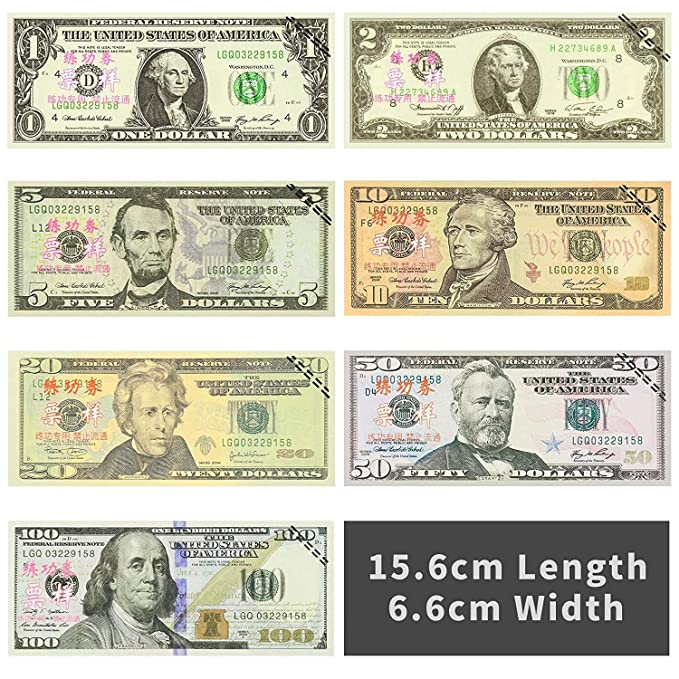 BestFire 210Pcs Prop Money Play Money Game Realistic Paper Money Full Print 2 Sided for Kids Play Board Games Movie Birthday Party Students Pranks Photography