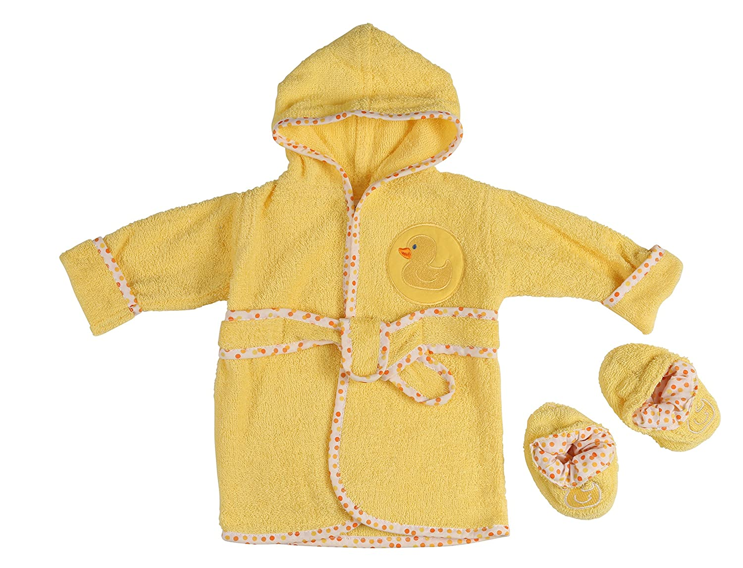 Little Beginnings Infant Plush Terry Bath Robe and Booties with Duck Applique GS70712