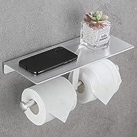 DUFU Toiletrolhouder Wandmontage Dubbel Toiletpapierhouder met Plank WC Rolhouder Zonder Boren Zelfklevend…