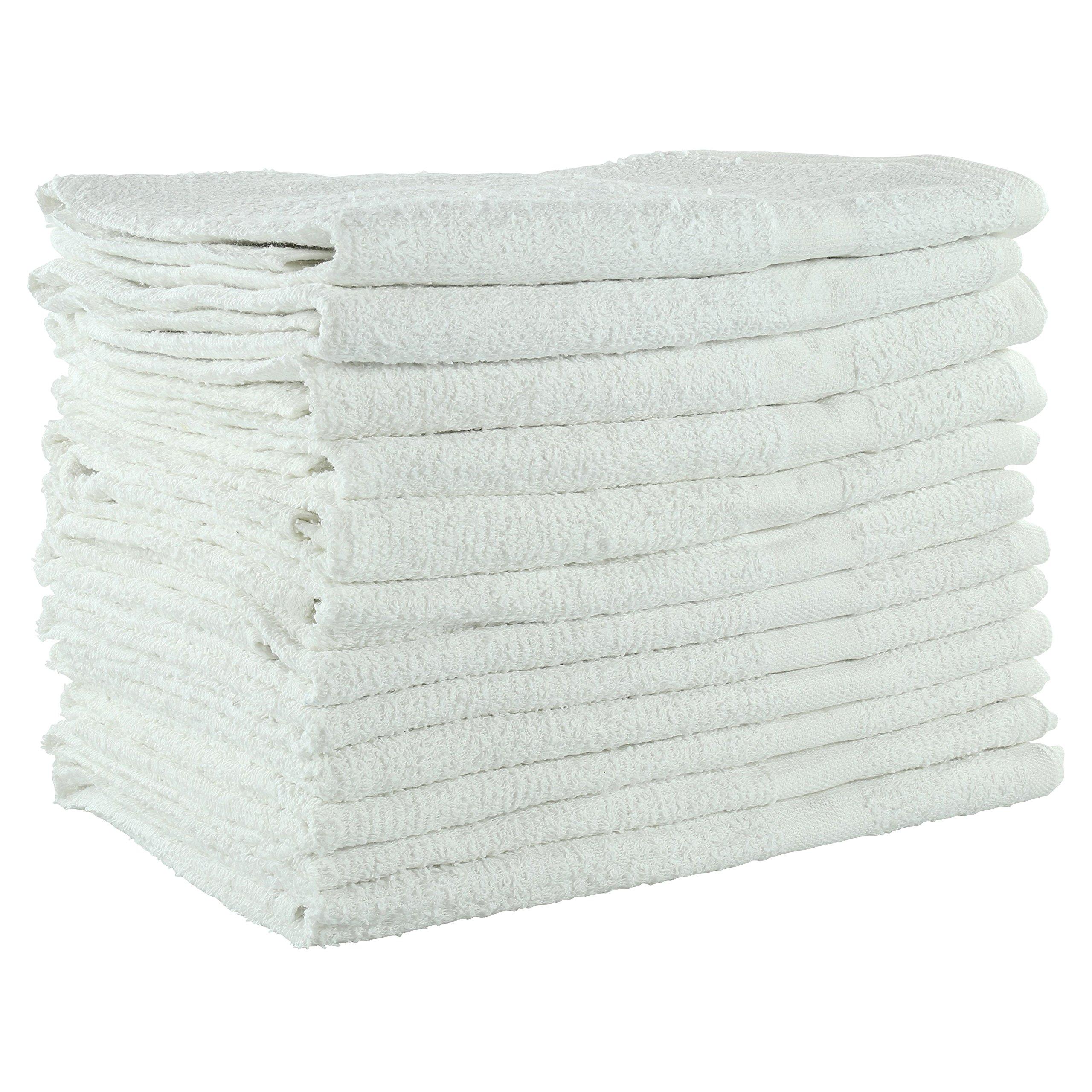 Jmr White Terry 22x44 6lb 100% Cotton Bath Towels,12 pk