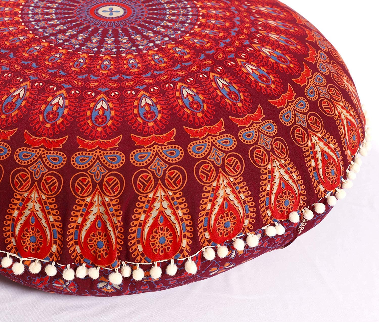 Popular Handicrafts Large Hippie Mandala Floor Pillow Cover - Cushion Cover - Pouf Cover Round Bohemian Yoga Decor Floor Cushion Case- 32
