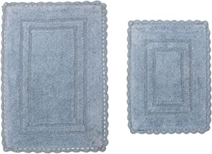"Home Weavers Casual Elegence Bathmat Collection Absorbent Cotton Soft Reversible 2 Piece Bath Rug Set, Machine Washable, 17""x24"", 21""x34"", Blue"