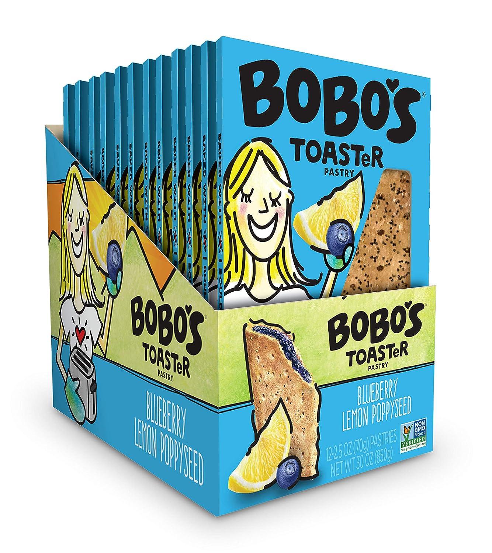Bobo's TOASTeR Pastry, Blueberry Lemon Poppyseed, 2.5 oz Pastry (12 Pack), Gluten Free Whole Grain Breakfast Toaster Pastries