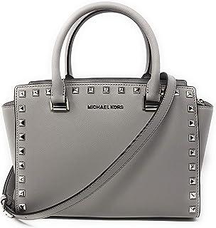 9b6f517bf4a35e Michael Kors Selma Stud Medium Top Zip Saffiano Leather Satchel Handbag