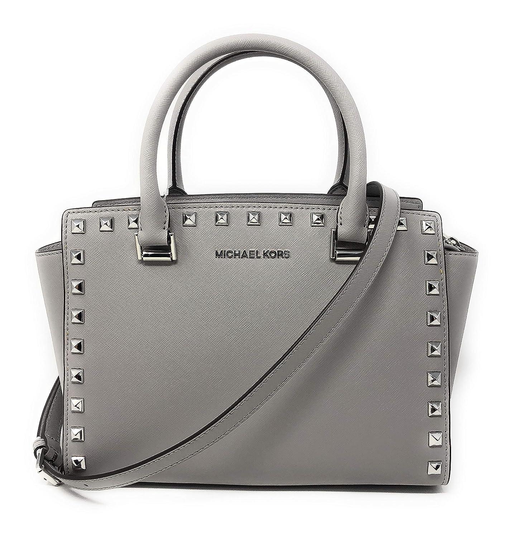50863c827008 Amazon.com  Michael Kors Selma Stud Medium Top Zip Leather Satchel Bag in Ash  Grey  Clothing