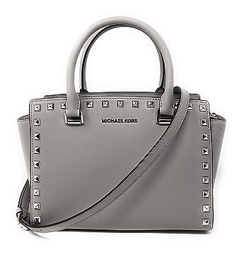 6aad71724aa12b Amazon.com: Michael Kors Selma Stud Medium Top Zip Leather Satchel Bag in  Ash Grey: Clothing