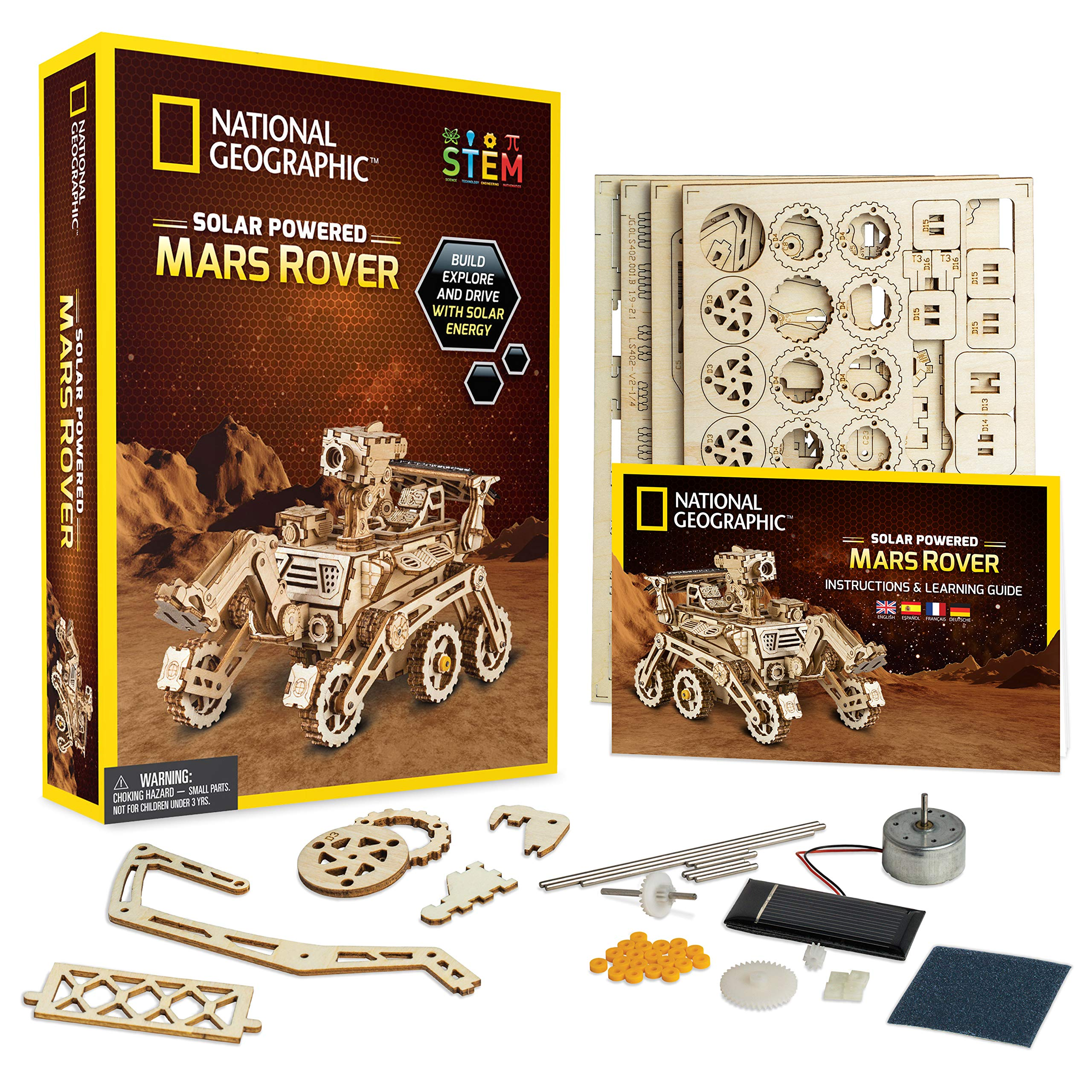 NATIONAL GEOGRAPHIC Wooden Model Kit - DIY Solar-Powered Car Includes One 3D Puzzle to Build A Mars Rover, Great Stem Toy for Girls & Boys Interested in Outer Space & Engineering by NATIONAL GEOGRAPHIC
