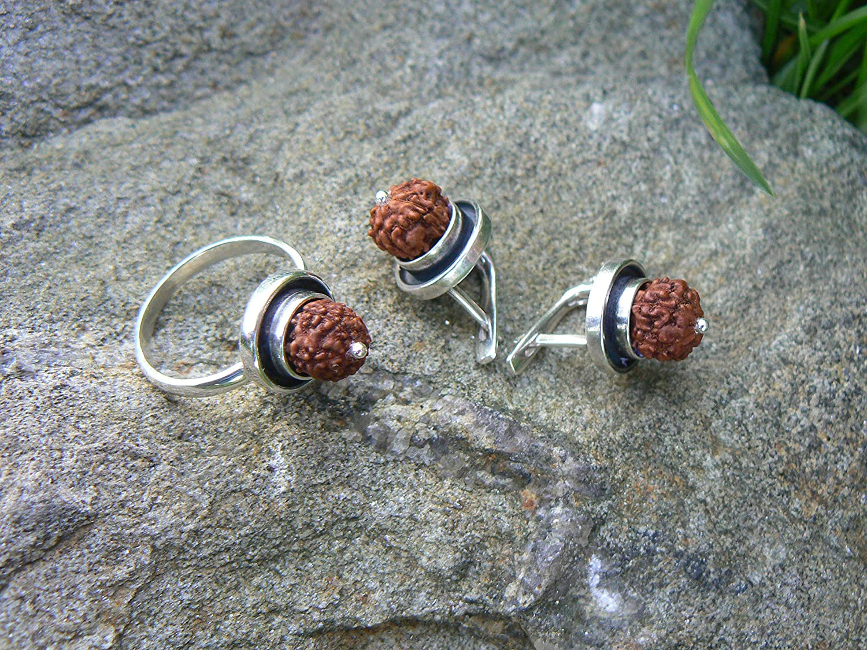 Rudraksha earrings /& ring SET Protection jewelry 5 Mukhi Rudraksh small seed beads Kundalini yoga earrings Shiva Shakti Hindu jewellery