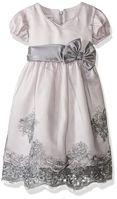 Bonnie Jean Little Girls' Toddler Tulle Border Organza, Grey, 4T