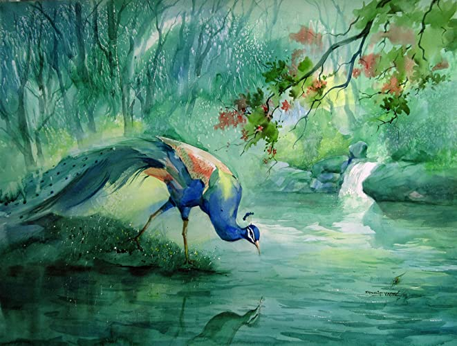 peacock watercolor painting by sandeep yadav sandeep yadav