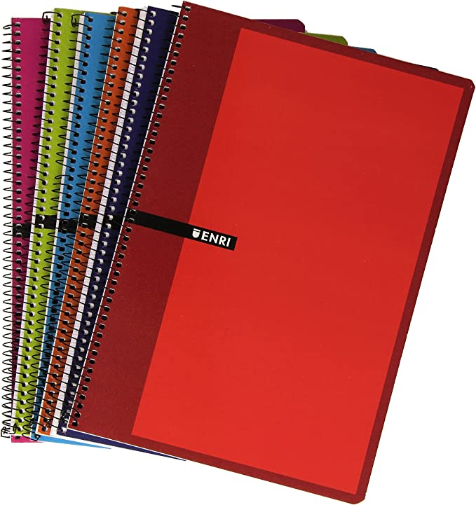 Enri 80H T D STD101077205 - Pack de 5 cuadernos con espiral simple, milimetrado, tapas duras, colores surtidos: Amazon.es: Oficina y papelería