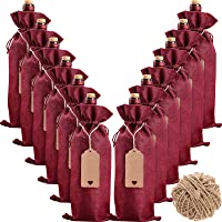 Burlap Wine Bags Wine Gift Bags, 12 Pcs Wine Bottle Bags with Drawstrings, Tags & Ropes, Reusable Wine Bottle Covers for…