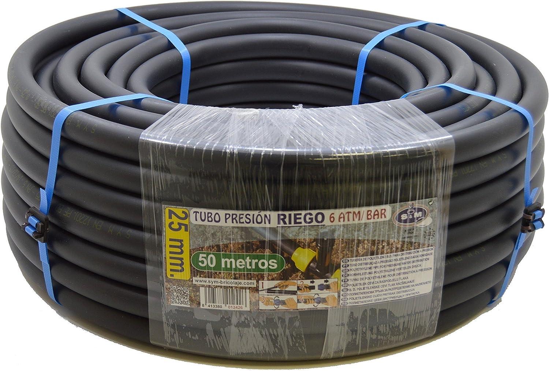 S&M 012426 012426-Manguera de Polietileno riego, 25 x 6 atm-50 m, Color Negro, 54.00x54.00x18.00 cm
