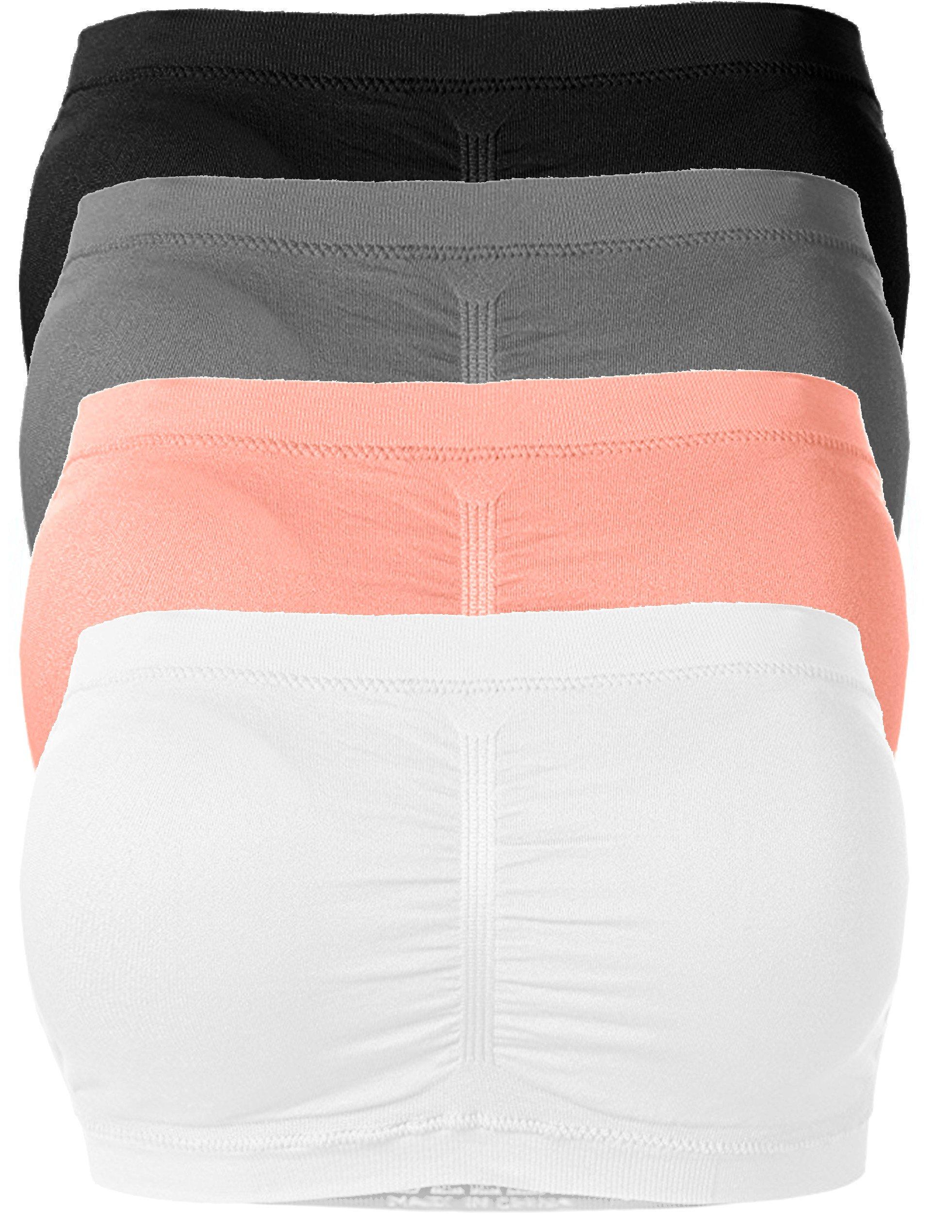 Ollie Arnes Women's One Size Strapless Padded Bandeau Stretchy Tube Bra SET4_BK_Char_Cor_WH OS