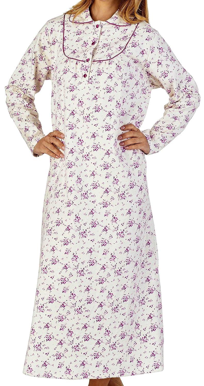 lungo piccolo fiore di stampa 160gsm 100/% morbido cotone flanella spazzolato manica lunga camicia 109cm, 114cm o 129cm Slenderella Ladies Luxury 43 45 o 51