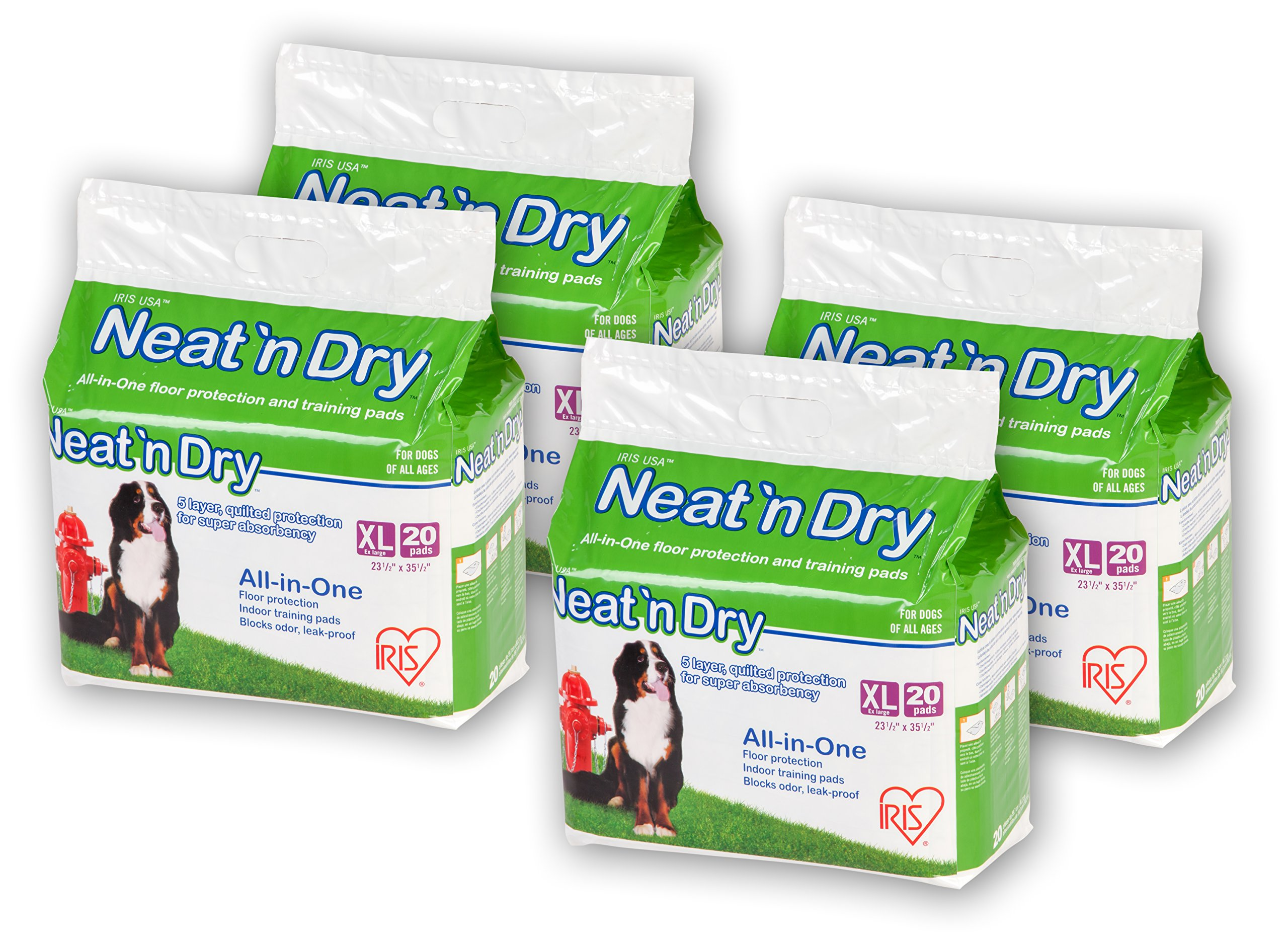 IRIS Neat 'n Dry Premium Pet Training Pads, Extra Large, 23.5'' x 35.5'', 80 Count