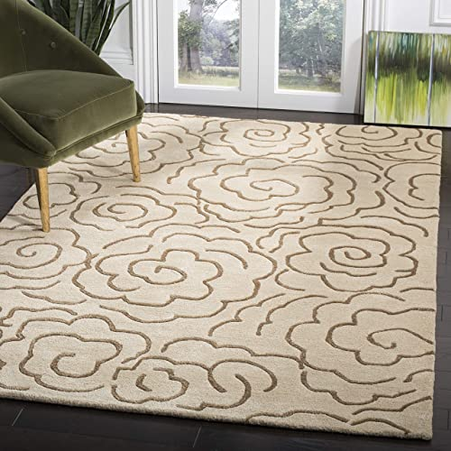 Safavieh Soho Collection SOH812E Handmade Beige and Multi Premium Wool Area Rug 5 x 8