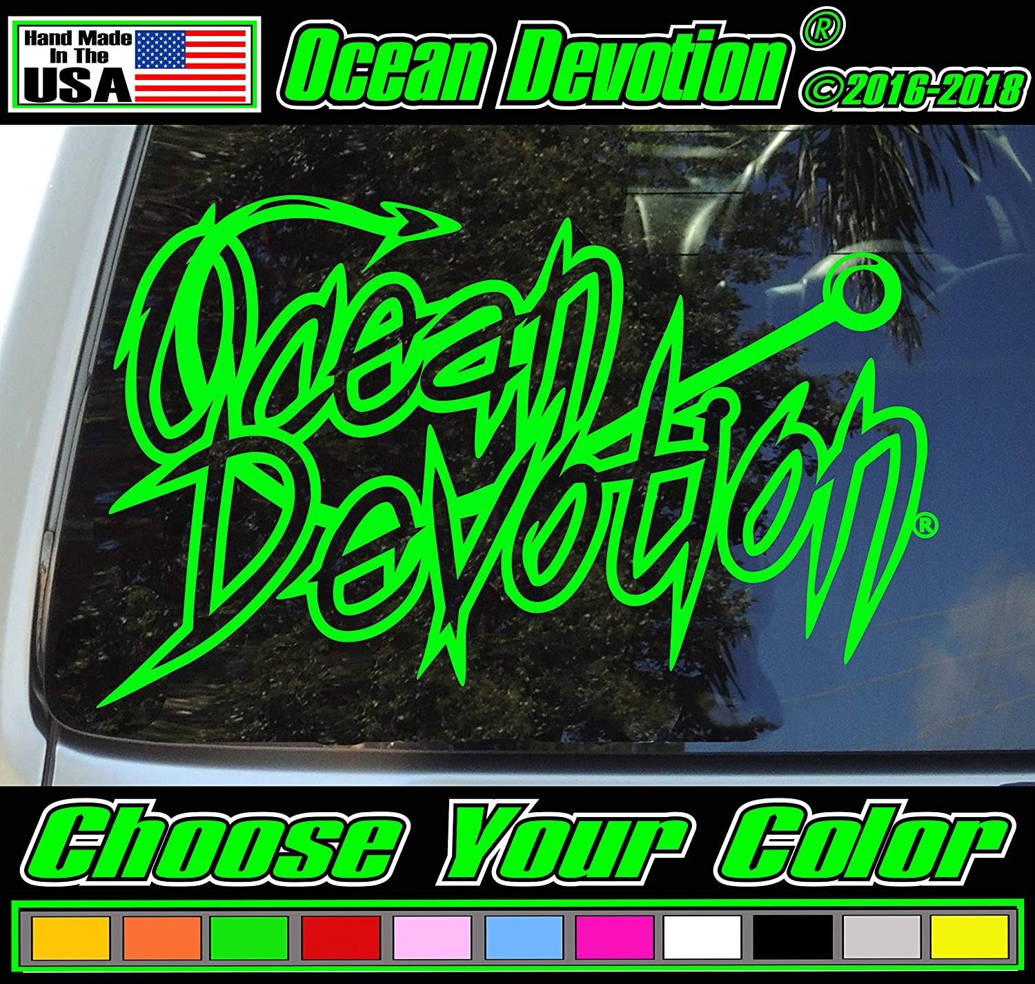 "Fishing Hook ""Ocean Devotion"" Vinyl Decal/Sticker V2 - 8w x 5h inches - Keywords... Sea Life, Surf, Surfing, Fishing, Automobile, Salt Life, Reel Life, Beach Life, Car, Truck, Boat, Window"