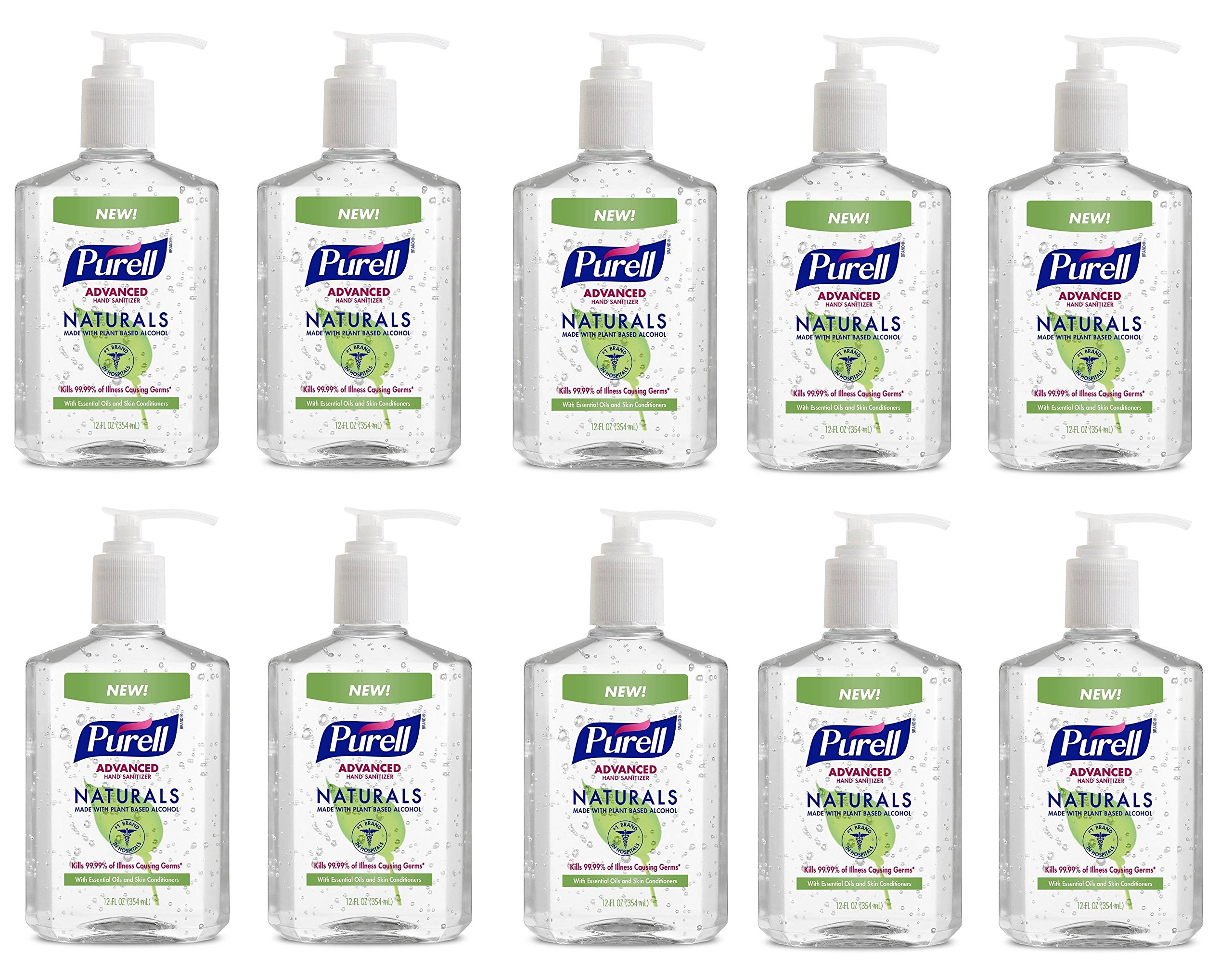 PURELL Advanced Hand Sanitizer NATURALS 12oz Pump Bottle QBiDeG, 10 Bottles by Purell
