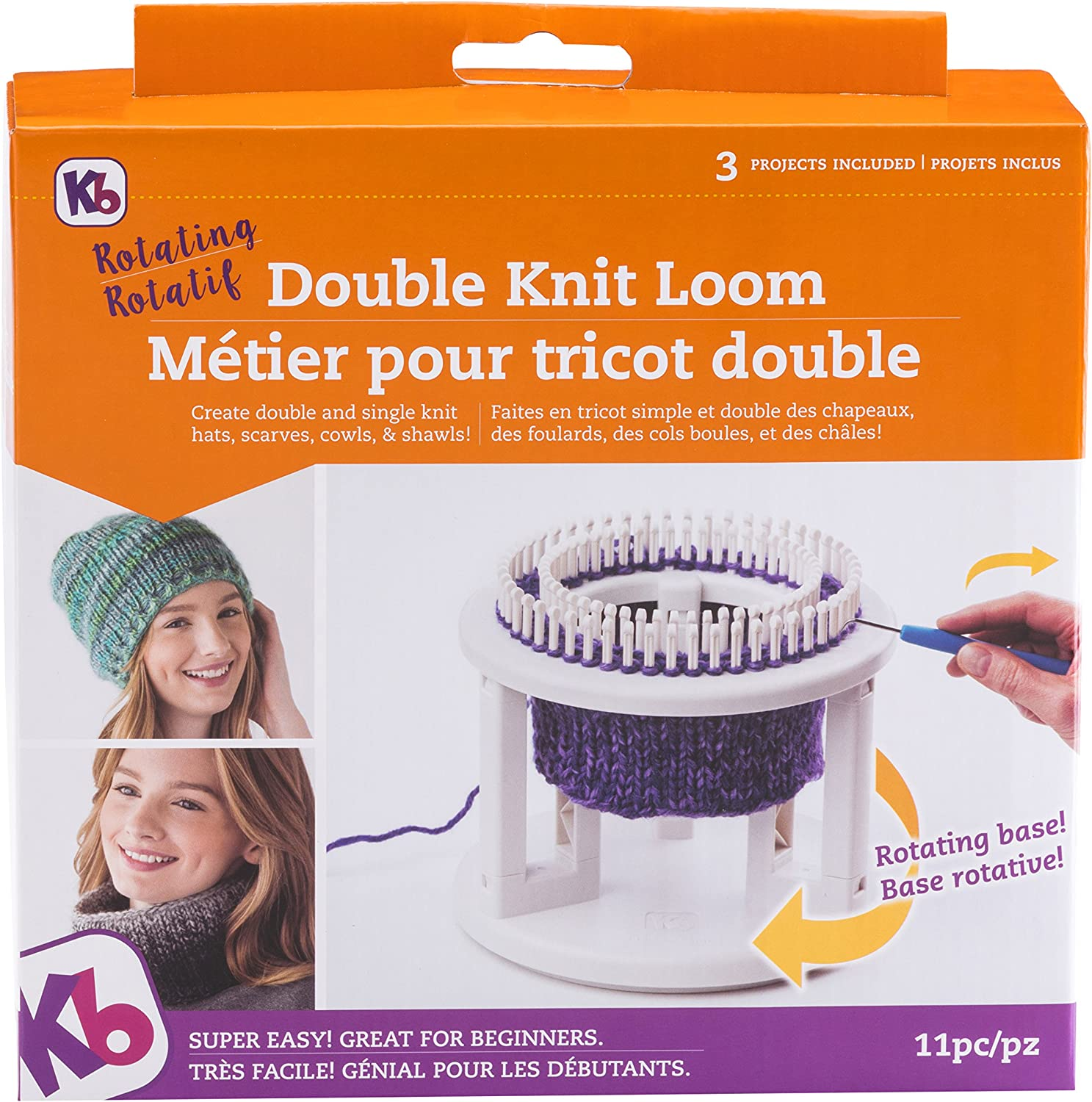 Authentic Knitting Board Rotating Double Knit Loom, Off White