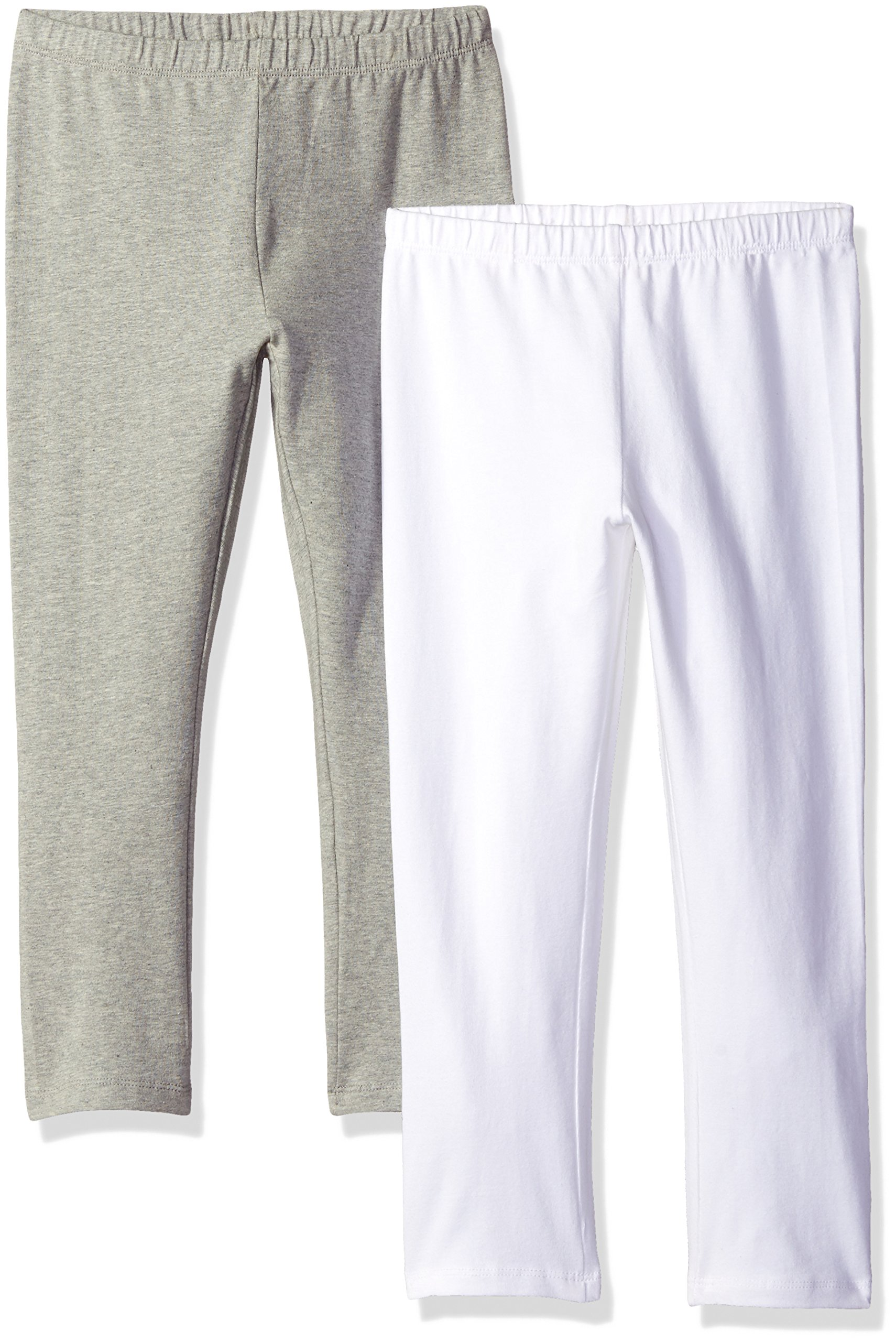 The Children's Place Girls' 2 Pack Basic Leggings, Heather Grey 47827 (Pack of 2), X-Small/4