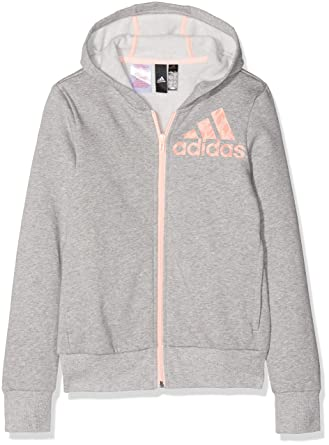adidas Mädchen Linear Full Zip Hooded Kapuzen Jacke