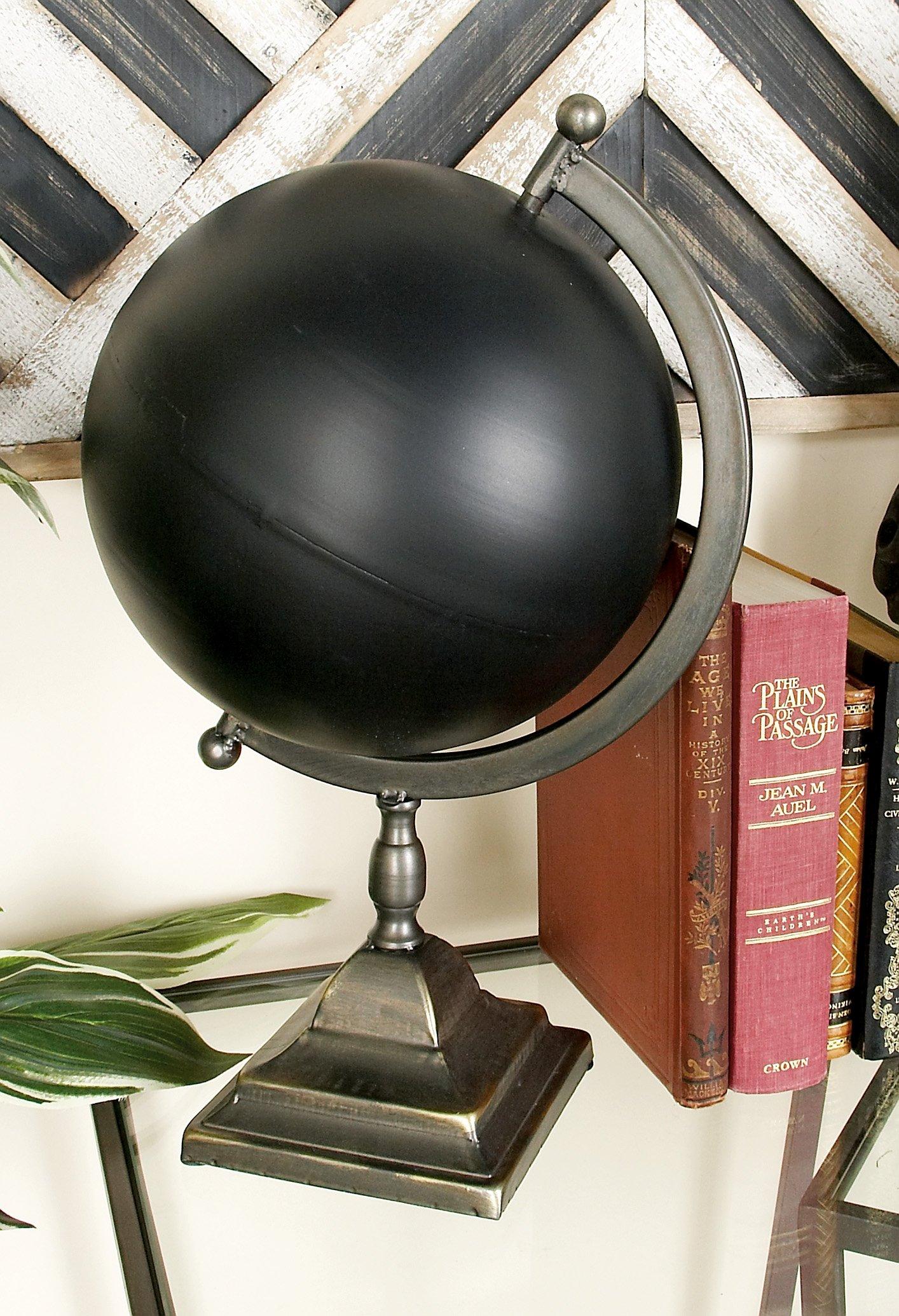 Deco 79 97777 Metal Globe, 11'' x 18'', Black
