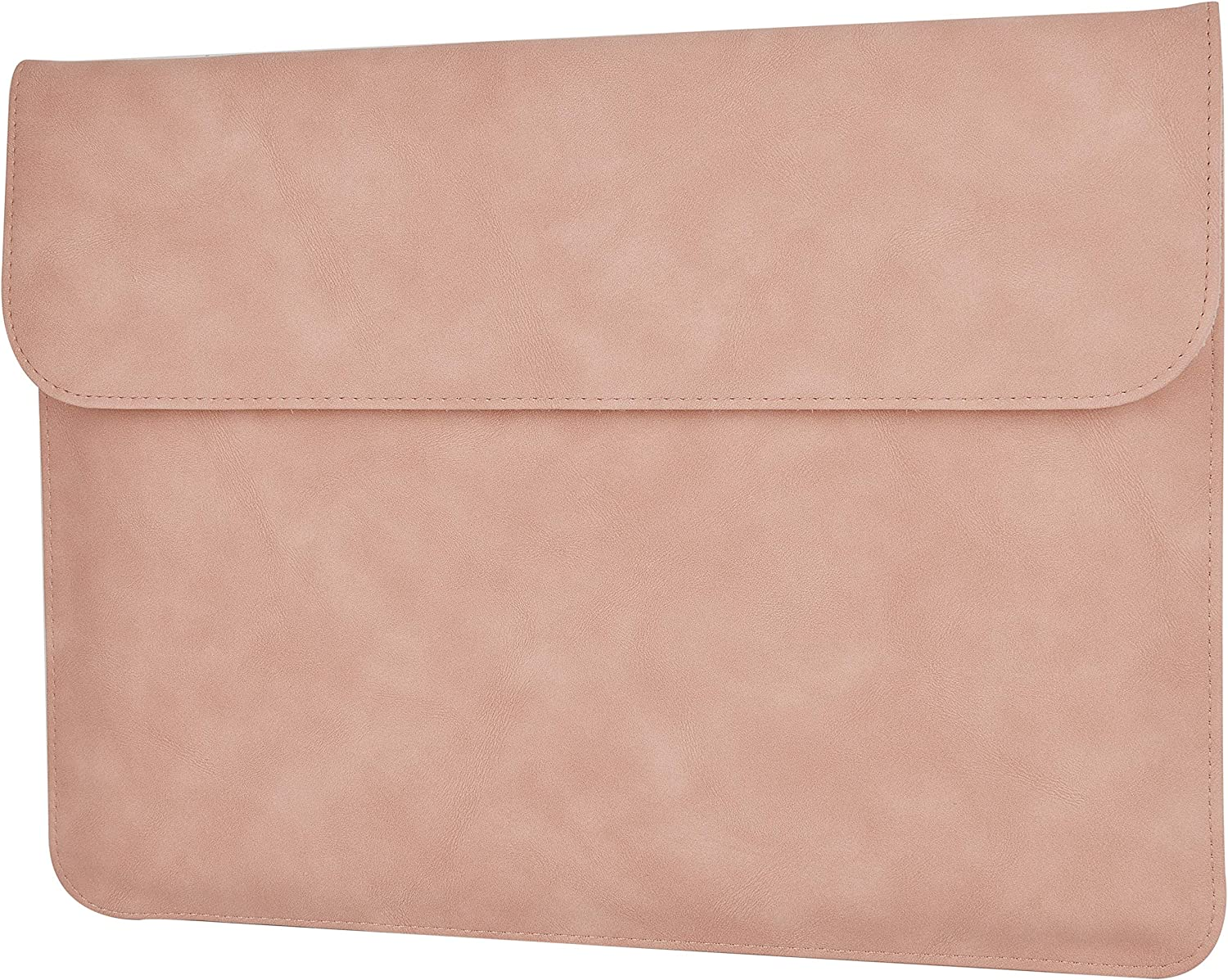 LuvCase Laptop Suede Leather Flap Envelope Sleeve Pouch Bag Compatible MacBook Pro 15-16 Inch, A2141/A1707/A1990/A1398/A1286, Chromebook, Acer,Thinkpad HP Notebook (Pink Magnetic Sleeve (Horizontal))