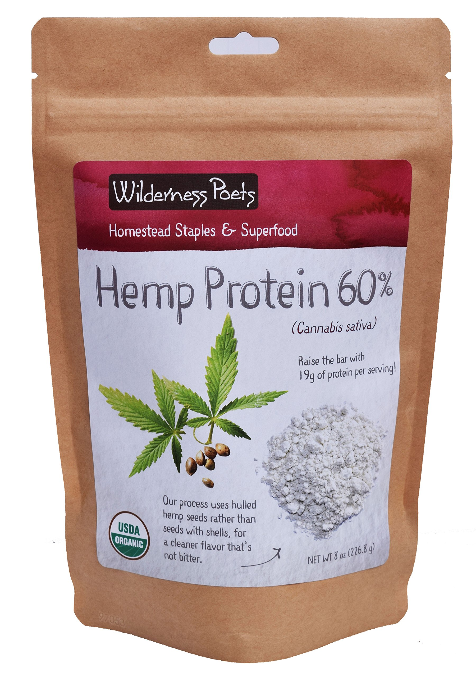 Wilderness Poets, Cold Pressed Organic Hemp Protein Powder, 19 G (8 Ounce) by Wilderness Poets