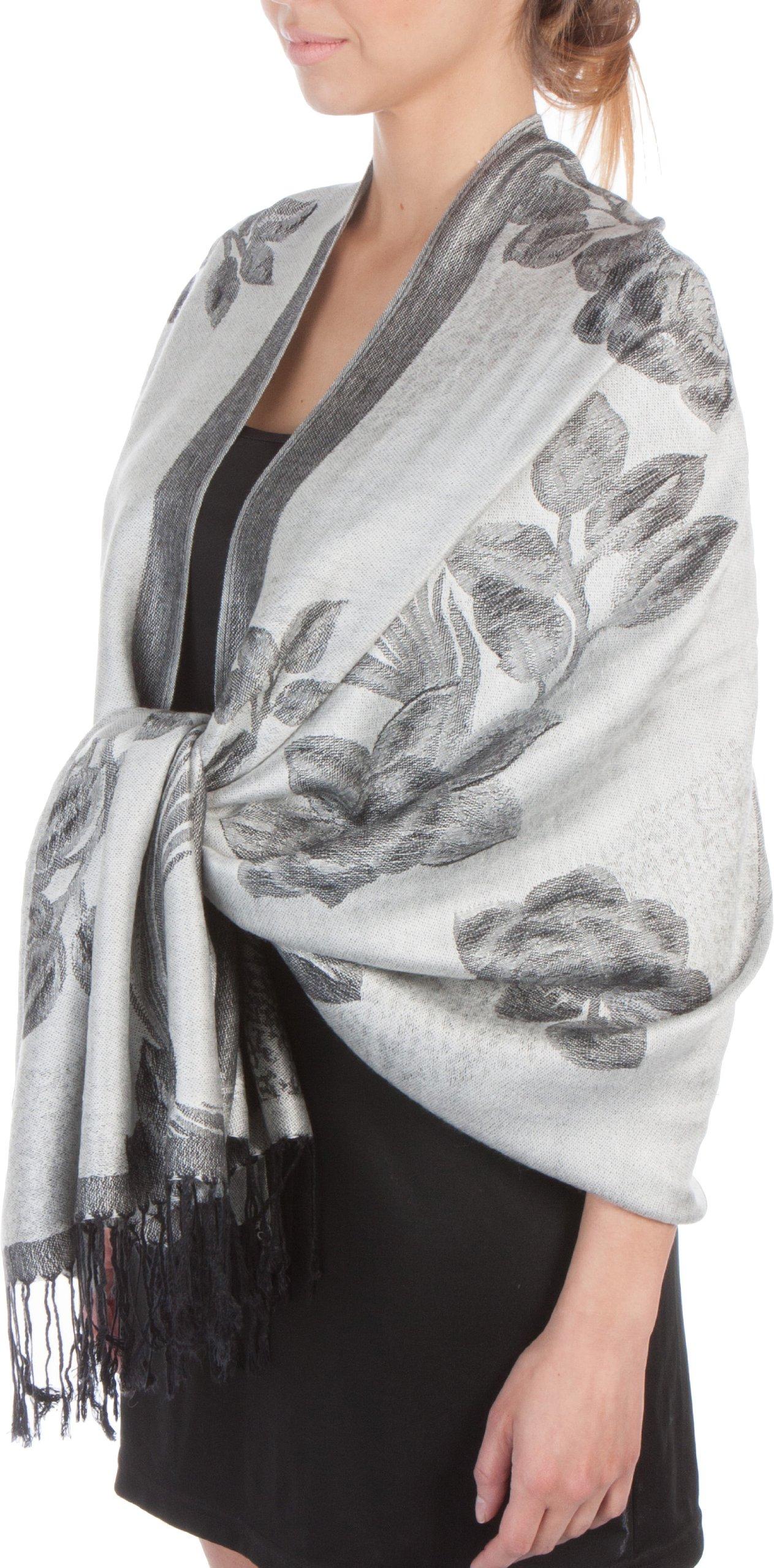 FUPashRose06AG Lightweight Two Tone Rose Floral Design Pashmina Fringe Scarf / Stole / Wrap - White / Black