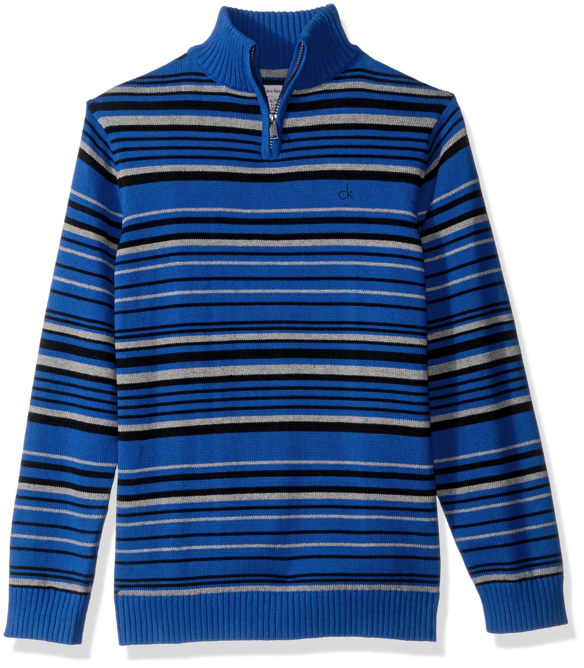 Calvin Klein Boys' Big Focal Stripe Half-Zip Sweater, Blue, X-Large (18/20)
