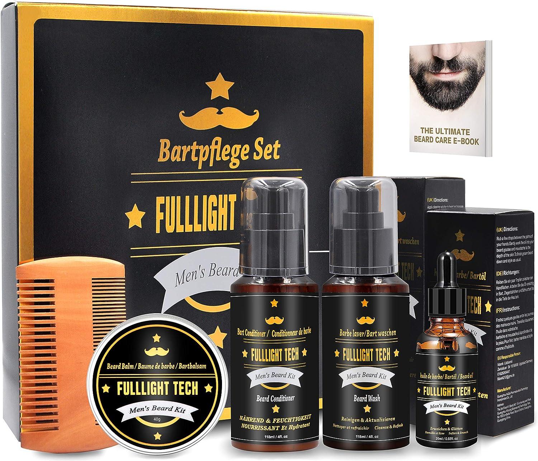 Kit Barba Cuidado para Hombre con 118 ML Champu Barba,118 ML barba acondicionador,Aceite Barba Perfumado,Balsamo Barba,Peine Barba,Eletronic Barba Libro,Regalos Originales Para Hombre