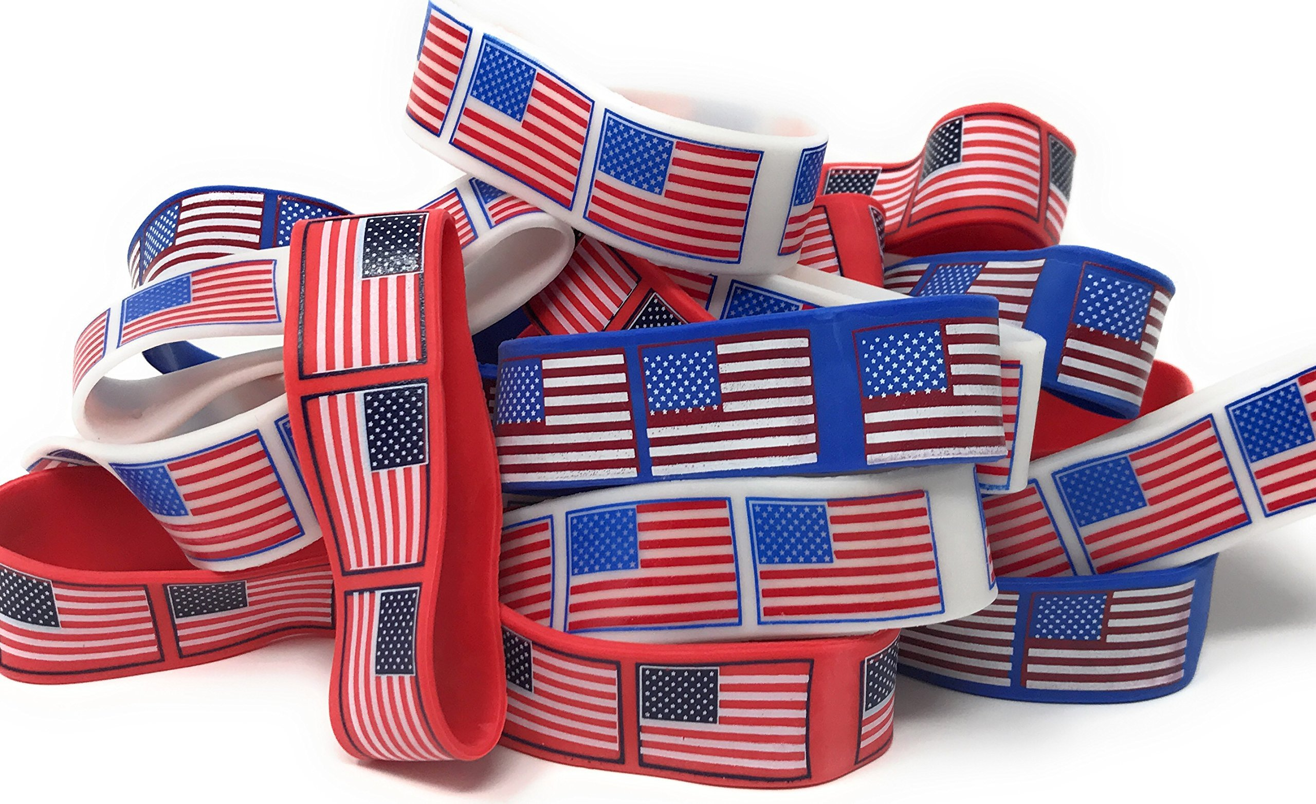 Bulk 48 Pack of American Flag Bracelets - Ideal Party Favors for Fourth of July Parades, 4th of July Parties, BBQ's, Picnics and Family Events by SVT (Image #1)